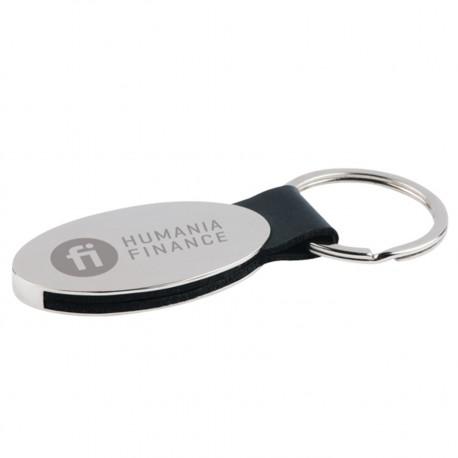 , Porte-clé oval en alliage zinc avec une bande PU, Busrel