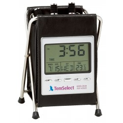 Leatherette pen holder with temperature display, calendar and clock