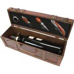 Treasure chest bottle case — 4 piece wine service set