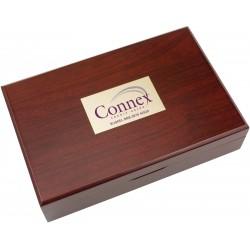 , Coffret pour service à vin en bois couleur acajou — 5 pièces, Busrel