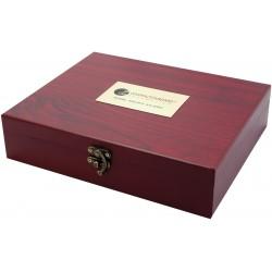 Coffret pour service à vin en bois couleur acajou — 6 pièces