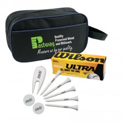 , GOLF PACKAGE (4782)\nBalls, tees, markers, divot repairs tools and utility bag, Busrel