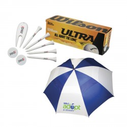 , GOLF PACKAGE (4789)\nBalls, tees, markers, divot repairs tools and a golf umbrella, Busrel