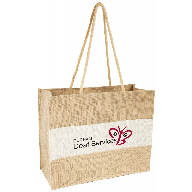 e6c9d62302913 White and natural jute shopper bag with long handles for