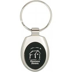 Porte-clés en métal coloré ovale