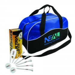 , GOLF PACKAGE (4793)\nBalls, tees, markers, divot repairs tools and a two-tone sport bag, Busrel