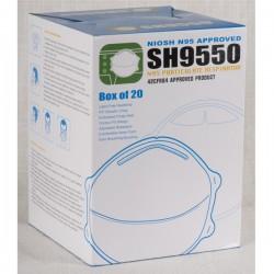 N95 NIOSH, model SH9550, BFE 100,00%, PFE 99,97%, box 20.